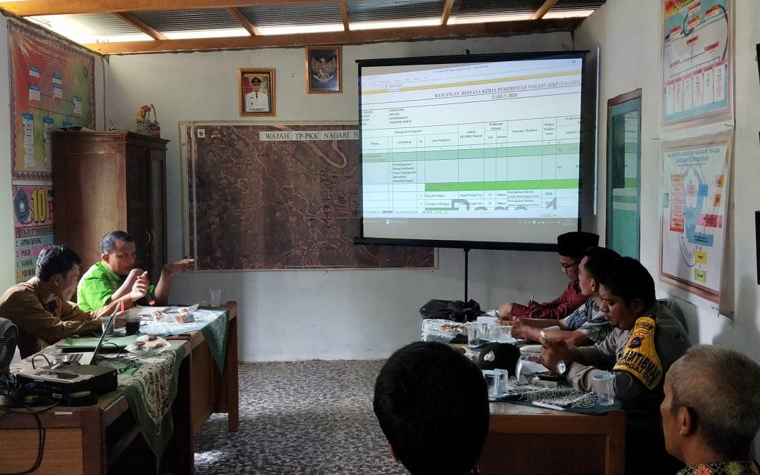 Pembahasan dan Penetpan Rancangan RKP Nagari Sungai Duo 2020 dan DU RKP tahun 2021 bersama BAMUS Nagari Sungai Duo