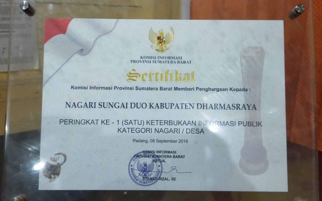 Sungai Duo meraih peringkat 1 dalam Keterbukaan Informasi Publik Kategori Nagari Tahun 2016
